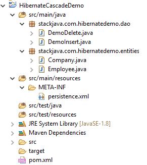 Code ví dụ Hibernate cascade, annotation @Cascade
