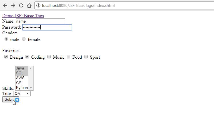 Series JSF – Phần 6: Các thẻ trong JSF, Ví dụ submit form với JSF