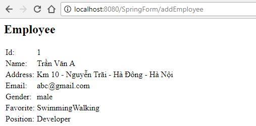 Spring MVC (4): Code ví dụ Spring MVC Form, Xử lý Form Spring-MVC