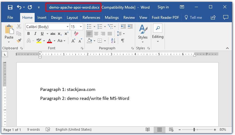 Đọc ghi file MS Word bằng Java với Apache POI