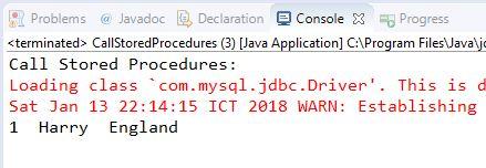 Hướng dẫn Java JDBC, Ví dụ với CallableStatement trong JDBC