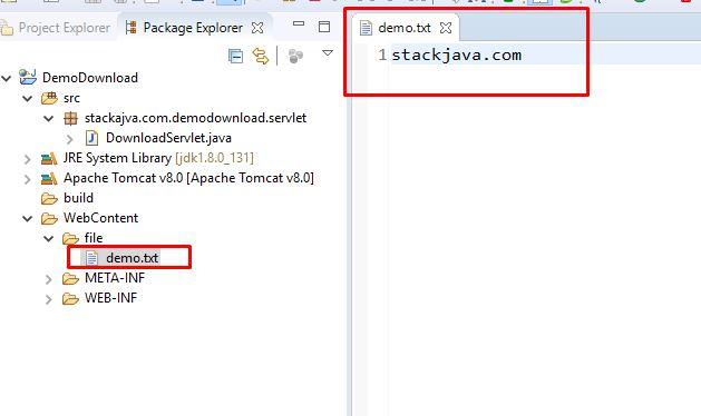 Code ví dụ chương trình download file với JSP - Servlet