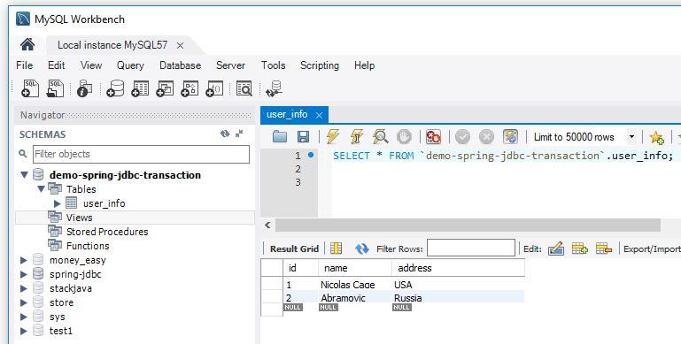 Spring JDBC - Code ví dụ xử lý Transaction với Spring JDBC