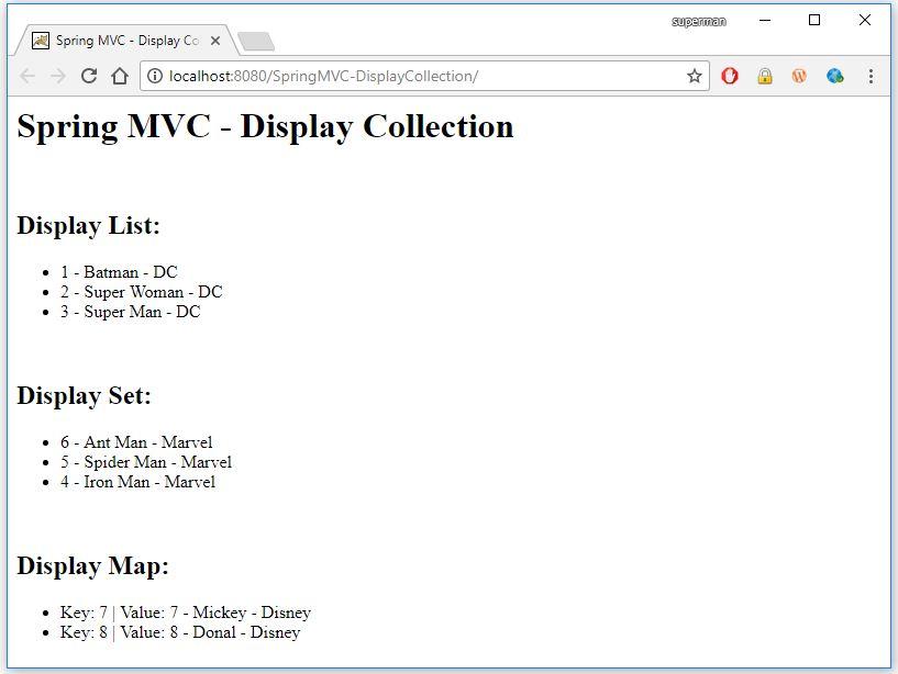 hiển thị danh sách (List, Set, Map) trong spring mvc
