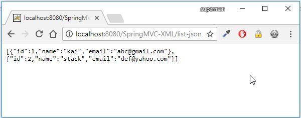 spring mvc generate json