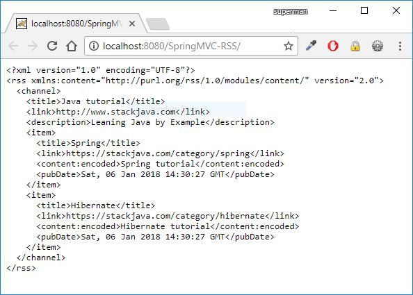 spring mvc generate rss feed