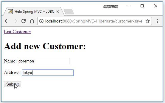 Code ví dụ Spring MVC + Hibernate + Maven + MySQL + Eclipse
