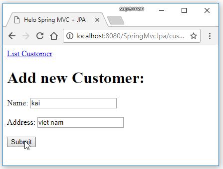 Code ví dụ Spring MVC JPA (Hibernate EntityManager) + MySQL + Maven