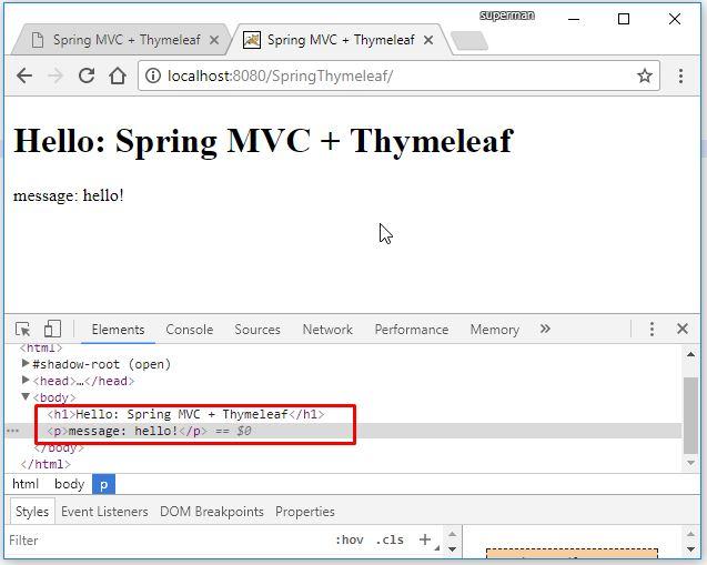 Code ví dụ Spring MVC Thymeleaf Hello - dùng XML config