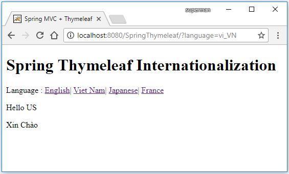 Code ví dụ đa ngôn ngữ với Thymeleaf Internationalization / i18n