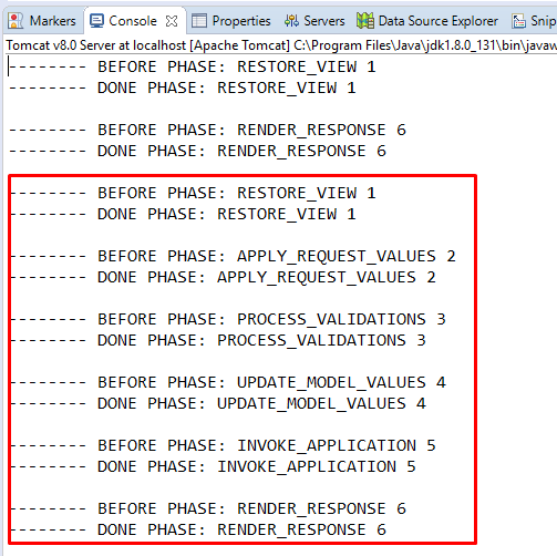 Code ví dụ PhaseListener, Sự kiện chuyển phase trong JSF