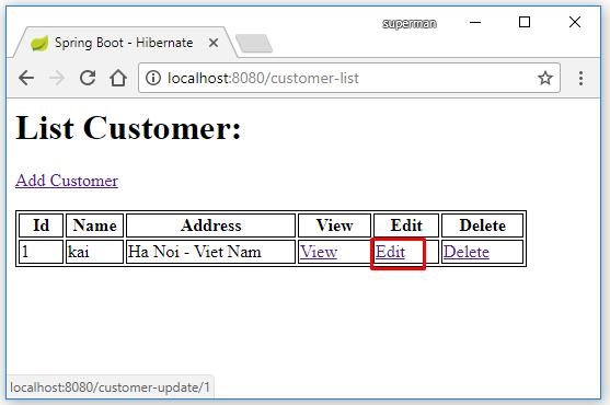 Code ví dụ Spring Boot với Hibernate + MySQL + Maven + Eclipse
