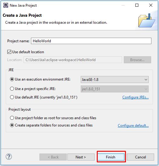Ví dụ tạo Java project 'Hello World' trên Eclipse
