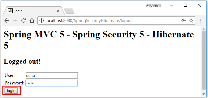 Code ví dụ Spring Security Hibernate 5 + Database MySQL