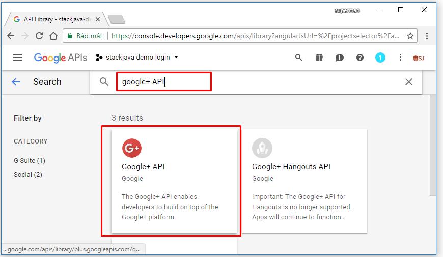 tạo ứng dụng google để login web site
