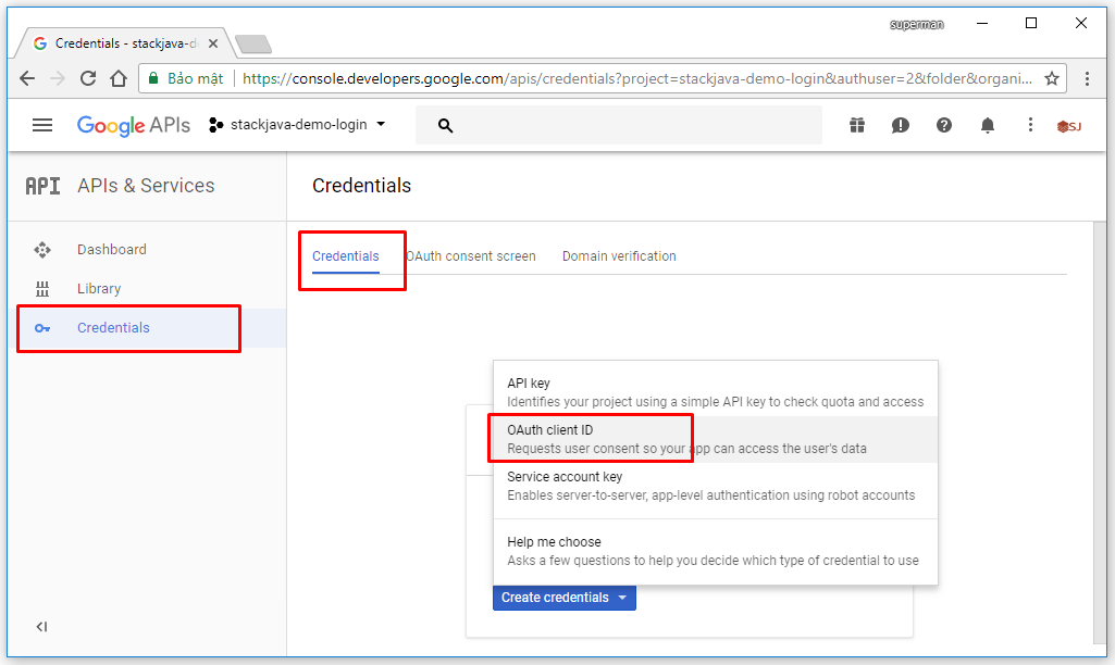 tạo google app để login web site