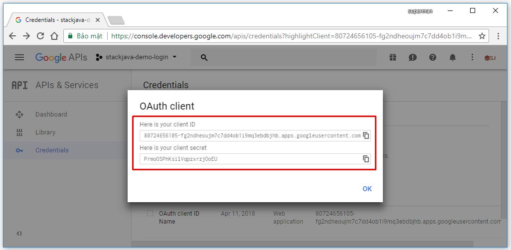 Tạo ứng dụng google+ để đăng nhập thay tài khoản