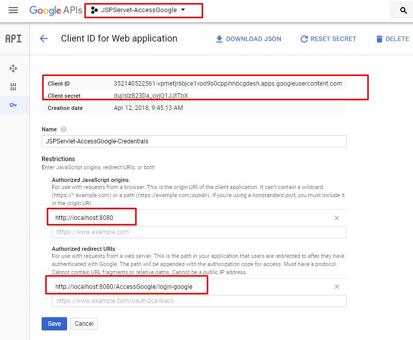 Ví dụ ứng dụng google để login