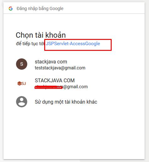 ví dụ đăng nhập java web bằng tài khoản gmail