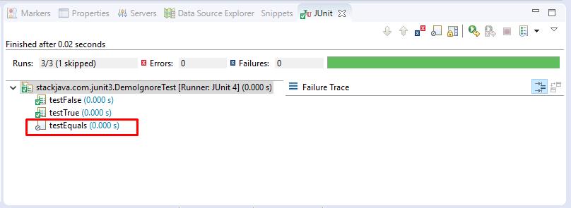 Ví dụ JUnit Ignoring tests và Timeout với test case