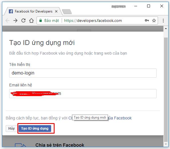 Tạo ứng dụng facebook để đăng nhập thay tài khoản