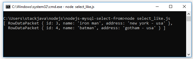 Code ví dụ Node.js query MySQL (SELECT, FROM, WHERE, LIKE)