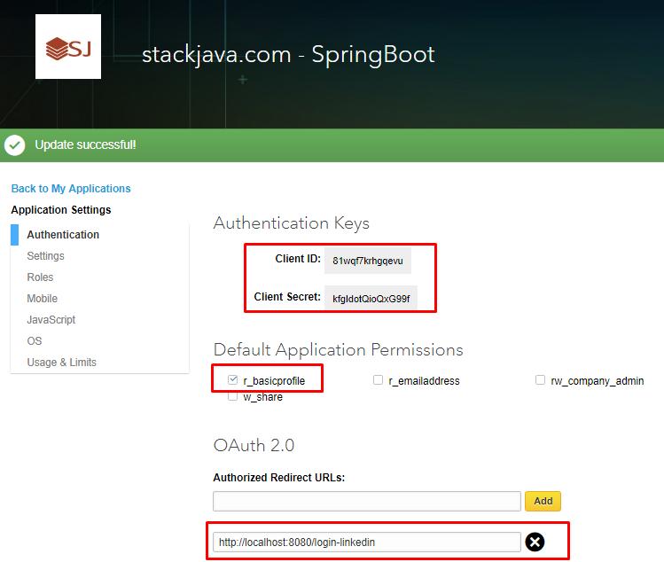 Code ví dụ Spring Boot Security đăng nhập bằng Linkedin - STACKJAVA