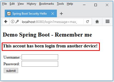 Spring boot chỉ login tại một nơi