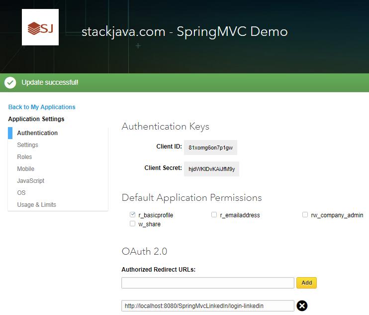 Code ví dụ Spring MVC Security đăng nhập bằng LinkedIn - STACKJAVA