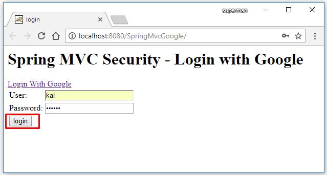 Code ví dụ Spring MVC đăng nhập bằng google/gmail