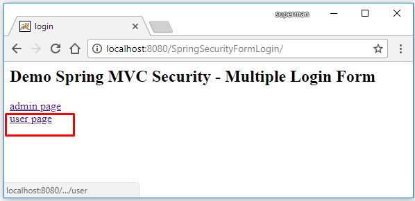 spring security two login page