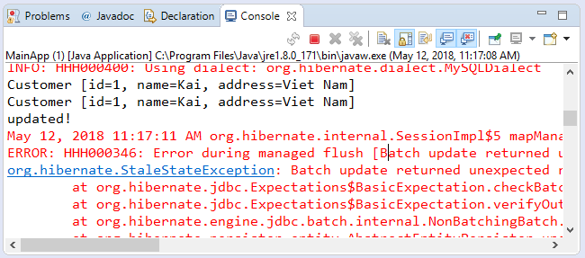 Code ví dụ Hibernate annotation @Version (Hibernate Locking Version)