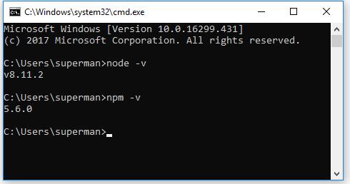 kiểm tra version nodejs và npm