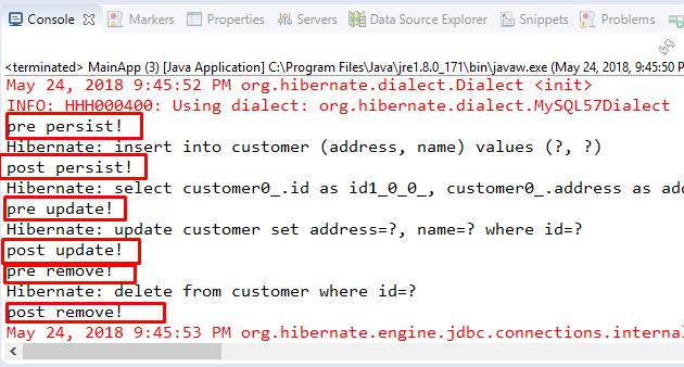 Code ví dụ với JPA Callbacks method @PrePersist, @PreUpdate, @PostRemove stackjava.com