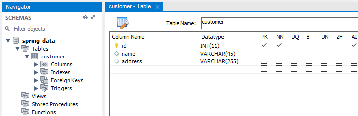 Tạo database spring-data với table customer
