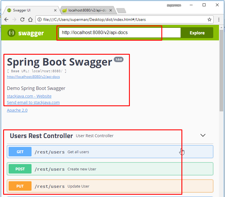 Code ví dụ Swagger với springfox-swagger2, swagger ui