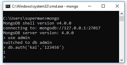 Cách 2: sử dụng method db.auth()