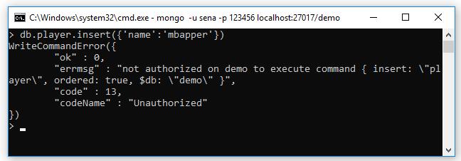Bây giờ đăng nhập với user sena/123456: ta có thể xem (find) tất cả collections, document của database demo nhưng không thể insert dữ liệu vào database demo vì user sena chỉ có quyền read.