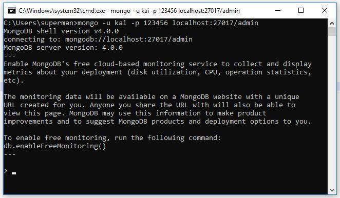 Ví dụ đăng nhập mongodb bằng account
