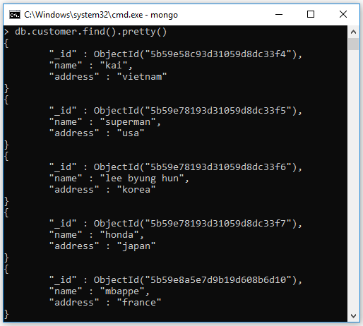 Định dạng dữ liệu kết quả pretty()