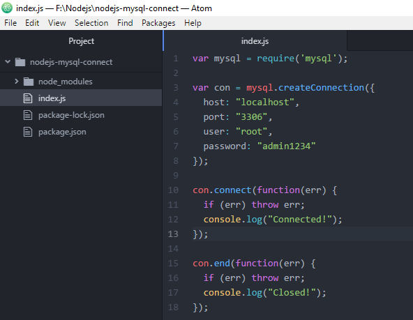Code ví dụ Node.js kết nối MySQL