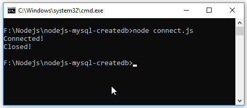 Code ví dụ Node.js MySQL - Tạo database, kết nối database
