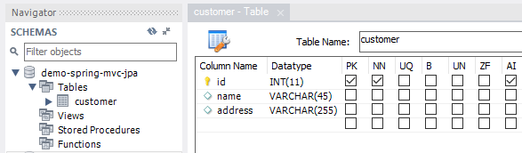 Tạo databasedemo-spring-mvc-jpavới table customer