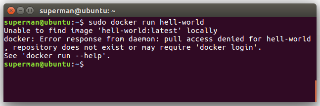 docker ubuntu hello world