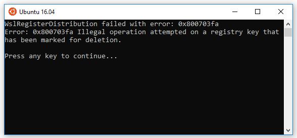 Sửa lỗi0x80070003, 0x8007007e, 0x800703fa khi cài Windows Linux Subsystem