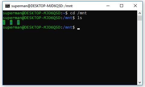 Để truy cập các file/folder của windows trên ubuntu ta sử dụng lệnh cd mnt
