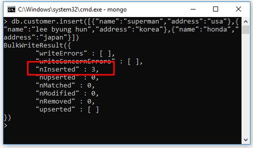 Insert nhiều document cùng lúc trong MongoDB