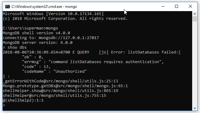 Sau khi enable chức năng xác thực, nếu bạn không dùng username/password để đăng nhập thì khi thực hiện lệnh nào đó sẽ bị báo lỗi Unauthenticated: