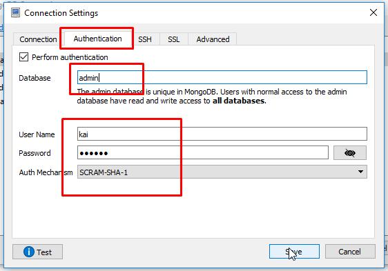 Đăng nhập với username/password trên Robo3T (RoboMongo)