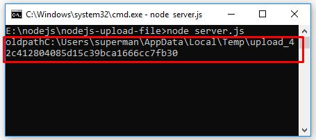 Code ví dụ Node.js Upload File với module Formidable